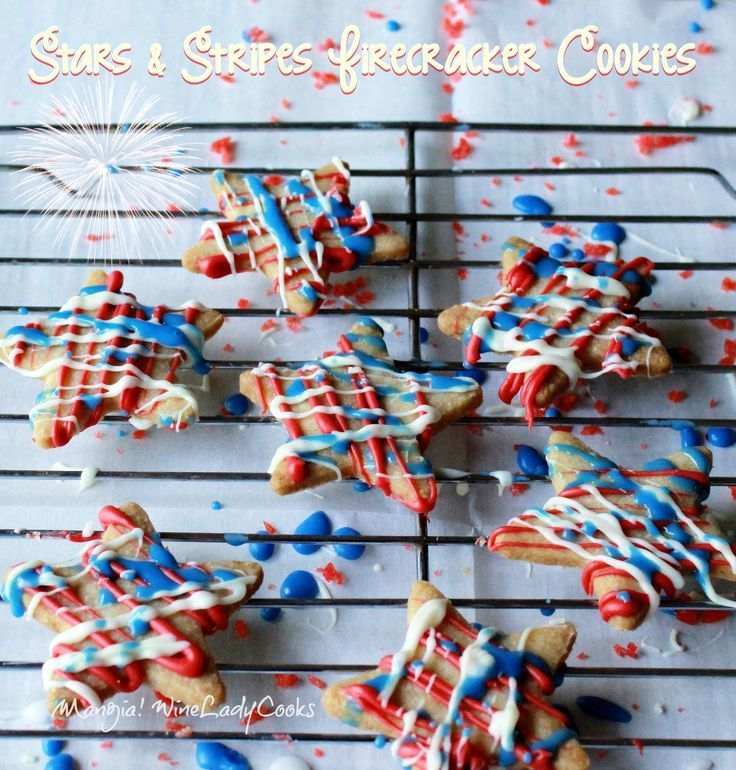 Patriotic Stars and Stripes Firecracker Cookies | www.wineladycooks... #4thofJuly #cookies #patriotic #cutoutcookies #redwhite&blue @Winelady Cooks