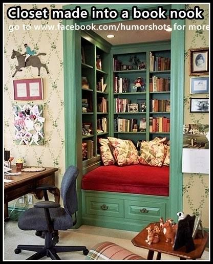 Closet made into a book nook. somehow add a fold-out desktop that can be stored when not in use?