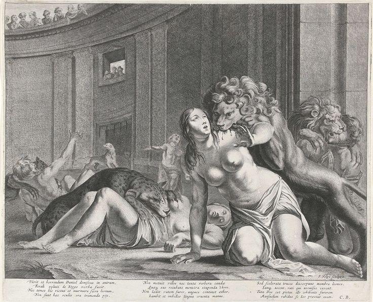 Pieter Nolpe | Daniël in de leeuwenkuil, Pieter Nolpe, Monogrammist CB (schrijver), 1623 - 1653 | Verschillende mensen worden aangevallen door leeuwen in de leeuwenkuil. Alleen Daniël, die midden achter staat, blijft ongeschonden. Aan de bovenrand van het amfitheater en door een venster kijken mensen toe. Onder de voorstelling drie vierregelige teksten in het Latijn.
