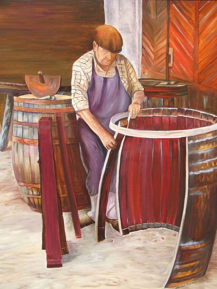 Hombre trabajando un barril, de la Colección Viñas de Isabel Gallardo