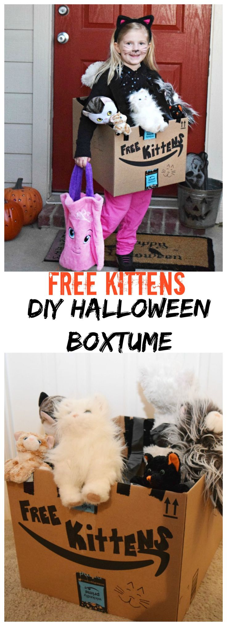 Need an easy kid costume? #ad Check out this DIY Free Kittens Boxtume Halloween costume! You can find everything you need to make your own #Boxtumes this #Halloween on @Amazon! #AmazonPrime