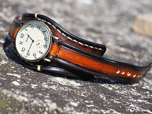 27b915e73 Hnedočierny kožený remienok, pánske hodinky, bronzové hodinky / leon ...