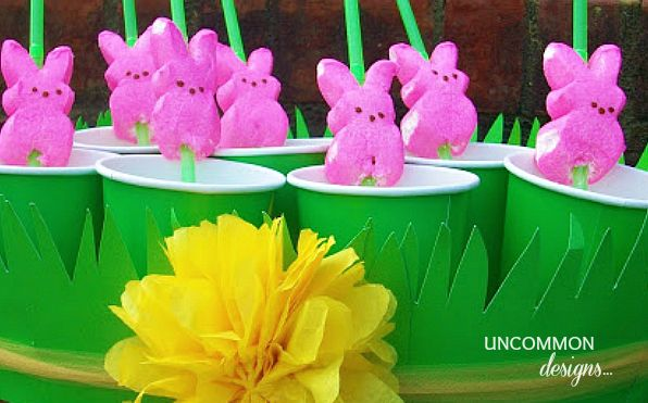 Use Peeps to skewered straws for an Easter party, or just a spring bash.: Easter Idea, Bunnies Straws, Peep Straws, Sweet Easter, Party Idea, Easter Treats, Diy'S Bunnies, Bunnies Peep, Spring East
