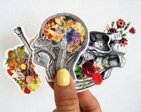 Conjunto de pegatinas de anatomía, cerebro humano, corazón y pulmones con flores, pegatinas portátil, pegatinas de calcomanías, regalo de estudiante de medicina, ciencia regalo STC001