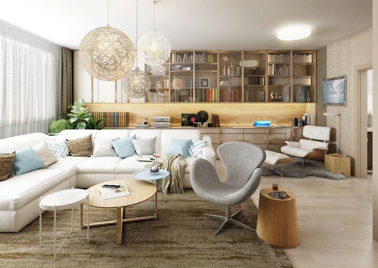 Fotorealistická vizualizace obývací pokoj