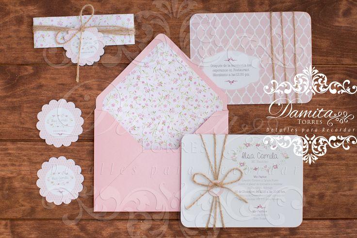 Invitación rosa, invitacion bautizo, invitación niña, invitacion flores
