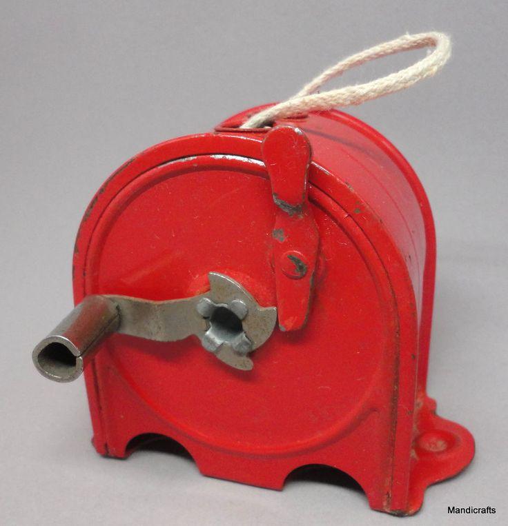 "Retractable #Clothesline Red Metal Case 3"" Handy Things USA c1950s Unused Vintage #HandyThings"