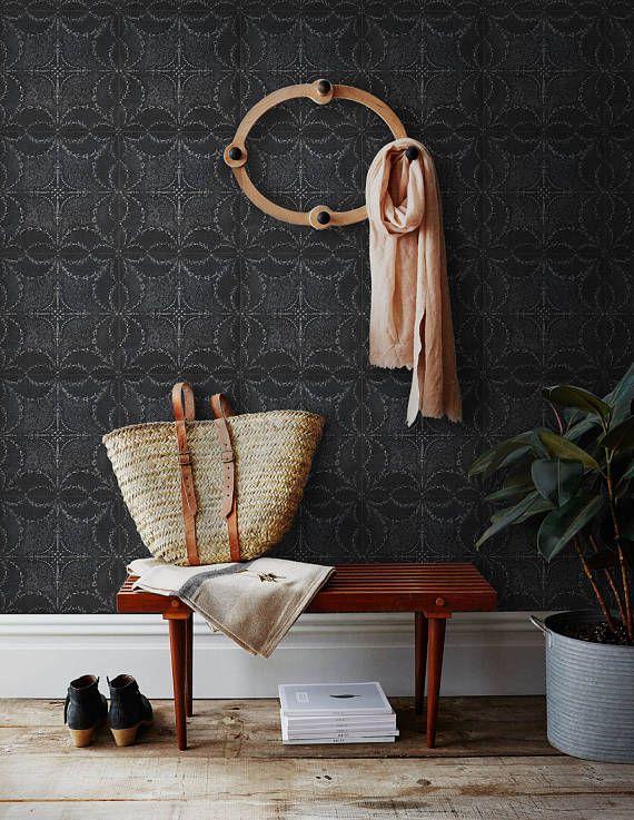 Dark Boho Wallpaper Tin Tile Wall Paper Wallapper Mural Removable