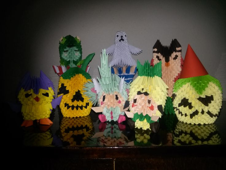 Trick or treat - Mihaela's Origami3D Halloween diy handcrafted origami paper pumpkin interior decorations.