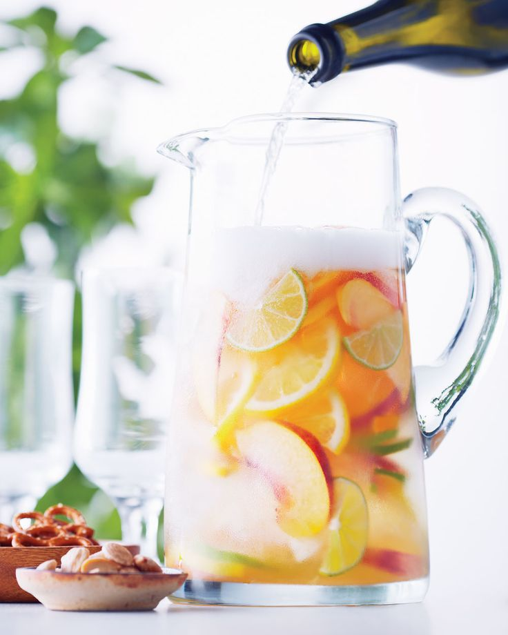 This Spanish punch is a blend of wine, spirits and fruit. This recipe uses sparkling wine, but we've included a classic red wine variation as well. When nectarines and peaches are in season, add them to the mix.