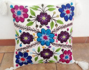 Peruvian pillow embroidered cushion cover 16x16 alpaca handmade Peru throw decorative embroidery colorful boho-chic eclectic Peru