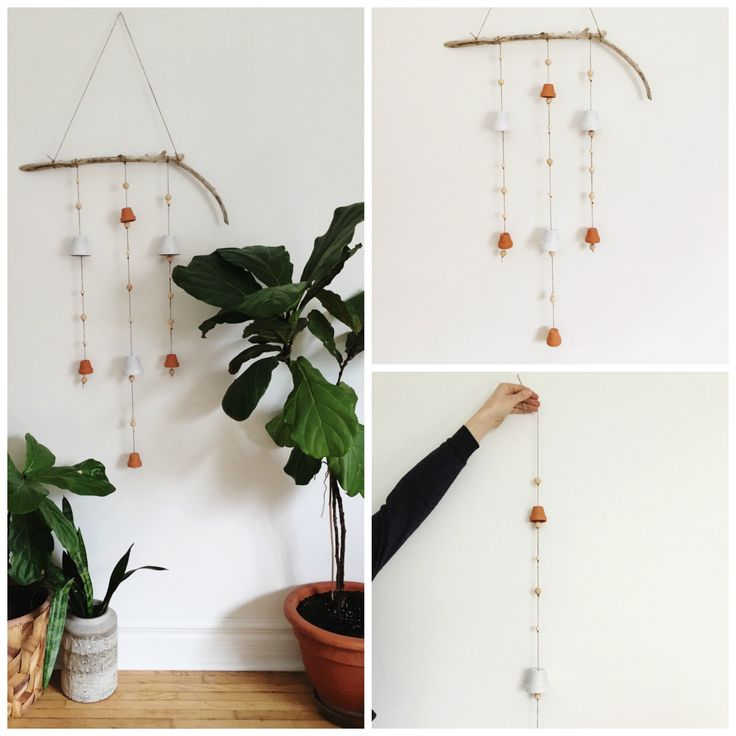 How+To+Make+A+Scandinavian+Inspired+Wind+Chime+-+using+terracotta+pots,+jute,+wooden+beads+and+driftwood.+Find+full+details+at+www.rowhousenest.com