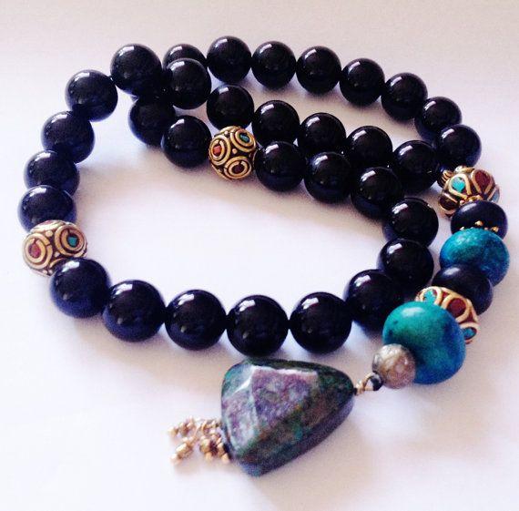 Turkish Islamic 33 Prayer Beads, Tesbih, Tasbih, Misbaha, Sufi, Worry Beads, Pocket Beads, - Onyx, Chrysacolla on Etsy, $40.00