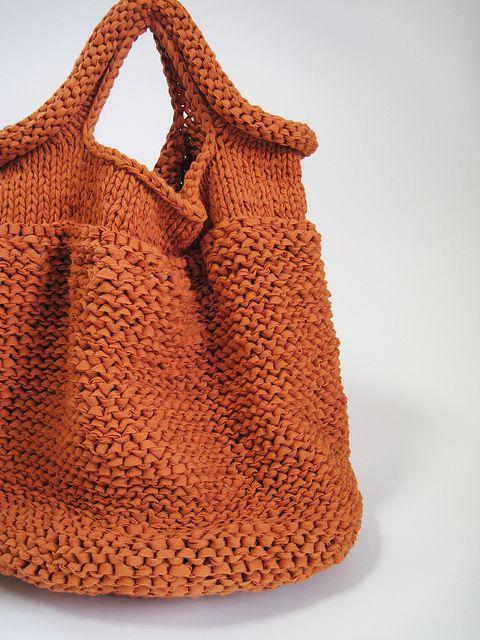 HAND KNIT BAG/ORANGE | Flickr - Photo Sharing!