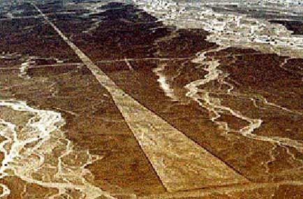 Because of their colossal size, the figures can only be appreciated from way up in the air —and there is no evidence that the Nazca people, who inhabited the area between 300 B.C. and 800 A.D., invented flying machines. According to ancient alien theorists, the figures were used to guide spaceships as they came in for a landing, and the lines served as runways.