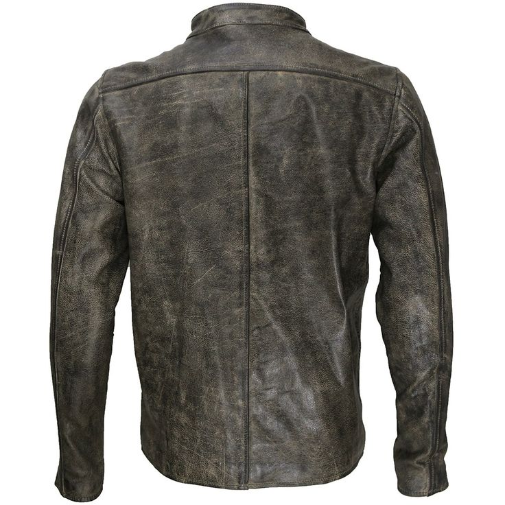 Distressed Beige Cafe Racer Leather Jacket - M2 | by VIPARO