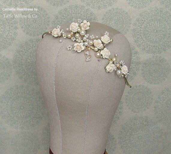 SALE CAMELLIA Floral Wedding Headband. Bridal by LittleWillowandCo