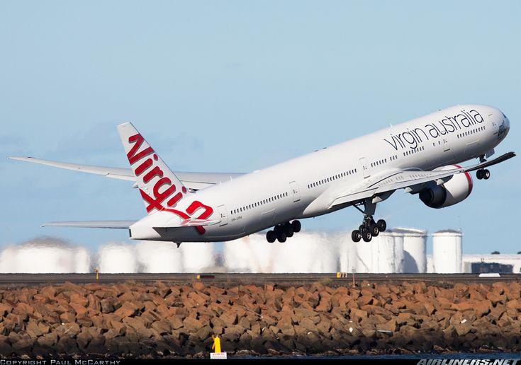"Virgin Australia Boeing 777-3ZG/ER VH-VPH ""St Kilda Beach"" departing Sydney-Kingsford Smith for the long journey across the Pacific, circa June 2012. (Photo: Paul McCarthy)"