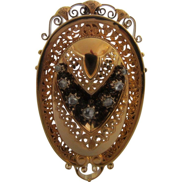 Magnificent Mid Victorian Austro Hungarian 14K Gold and Diamond Etruscan Revival Brooch Pendant ,c. 1870