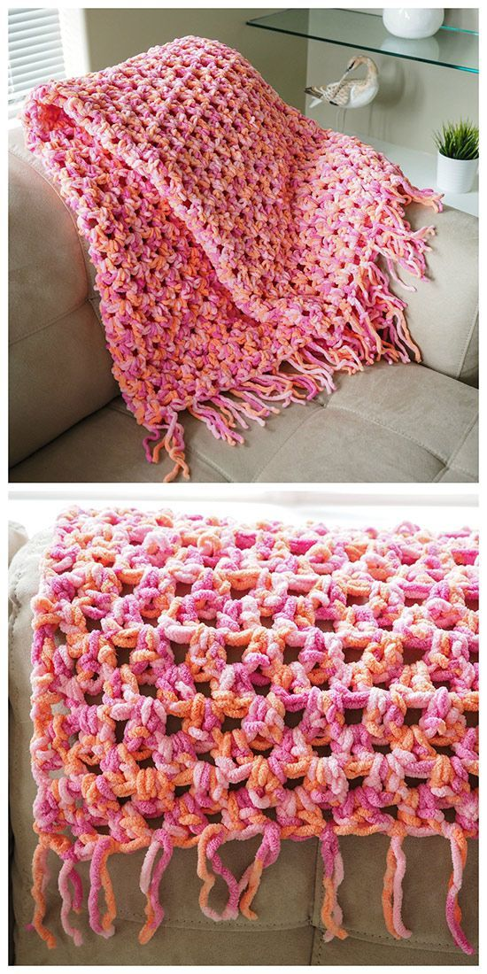 Super Easy & Quick Crochet Blanket: free pattern ~ purr-fect for beginners!