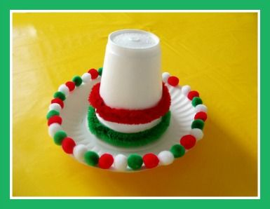 Cinco de Mayo Sombrero Craft!!!!! Made with Small Paper plate, Styrofoam or paper cup, Red and green pipe cleaners, Red, white and green Pom poms, and Glue!!! Super Easy!!!!