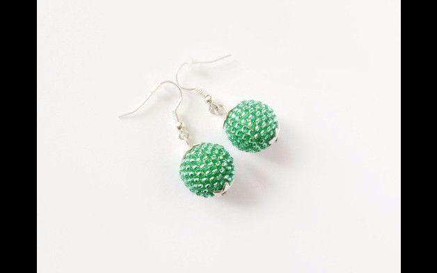 Peridot Green kolczyki - Projektownia - Kolczyki wiszące   #earrings #beaded #green #peridot