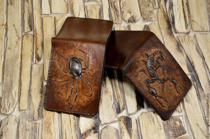 """Купить мужской кошелек """" скорпион"""" - коричневый, кошелек, кожа, натуральная кожа, мужской кошелек"""