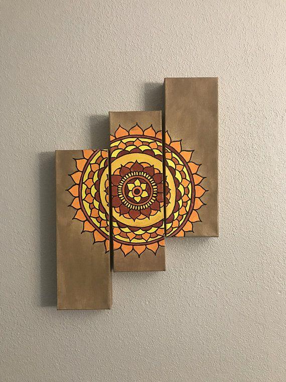 3 Piece Mandala Canvas Multi Canvas Painting Etsy Multi Canvas Painting Mandala Wall Art Mandala Canvas