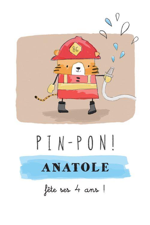 Votre enfant rêve de devenir pompier ? Annoncez sa fête d'anniversaire avec cette carte joliment dessinée par notre créatrice Petite ...