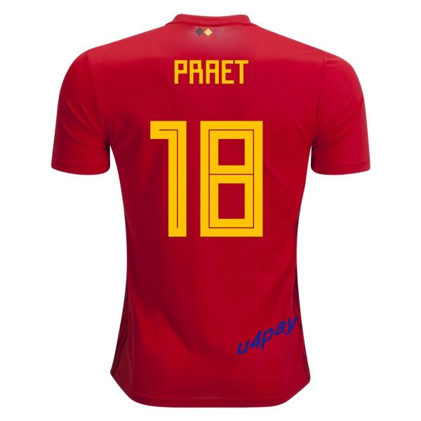 Dennis Praet 18 2018 FIFA World Cup Belgium Home Soccer Jersey