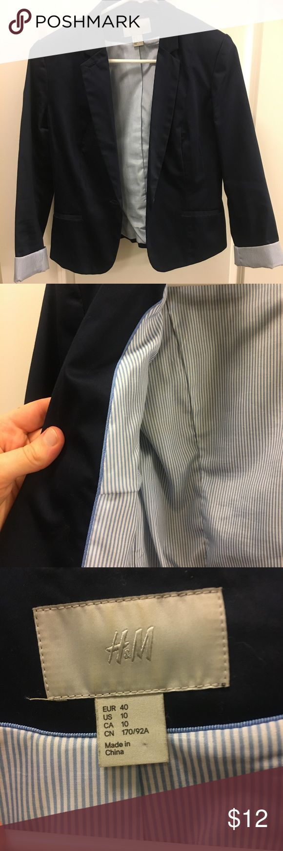 H&M Blue Blazer H&M navy blue blazer with light blue stripped interior. Cuffed sleeves also have the lighter blue stripes. Two button back detail. Size 10 for a comfortable fit over many options. H&M Jackets & Coats Blazers