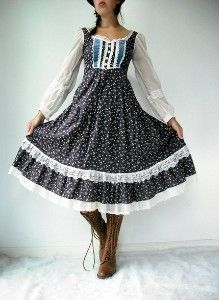 70s calico dresses....and skirts, but all with the boots! Wish I still had granny boots. Cute retro outfit......
