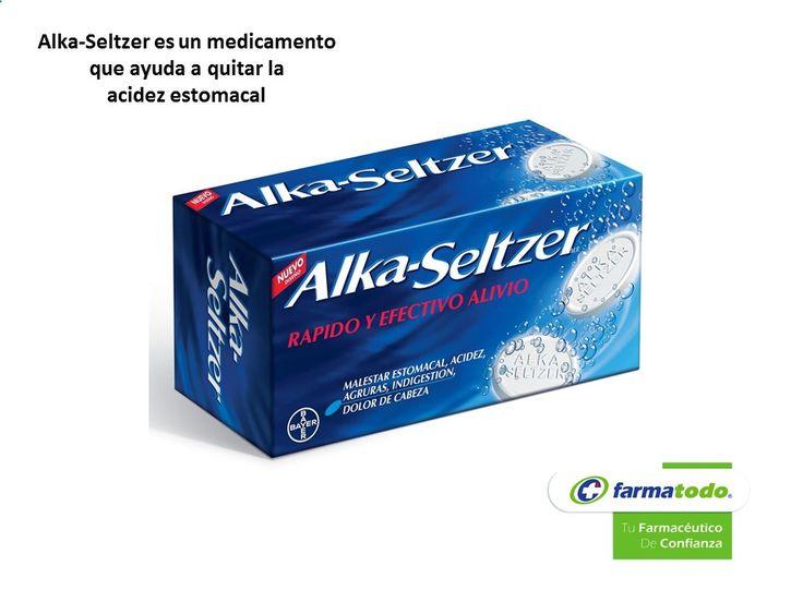 TIPS FARMATODO TE INFORMA ¿Qué es ALKA-SELTZER? Es un medicamento antiácido efervescente de venta sin receta que ácido acetilsalicílico, ácido cítrico, fosfato de calcio y bicarbonato de sodio como sustancias activas. Se utiliza para el alivio de los síntomas de las molestias de tipo gástrico que son ocasionales como la acidez, hiperacidez, ardor estomacal, reflujo estomacal, etc. www.farmatodo.com.mx