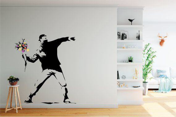 Banksy Rage Flower Thrower Quality Handmade Wall Decal Sticker Wall Decal Sticker Childrens Wall Decals Famous Pop Art