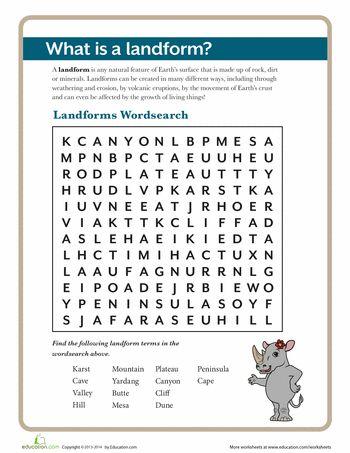 What Is A Landform Worksheets For Kids Pinterest Worksheets