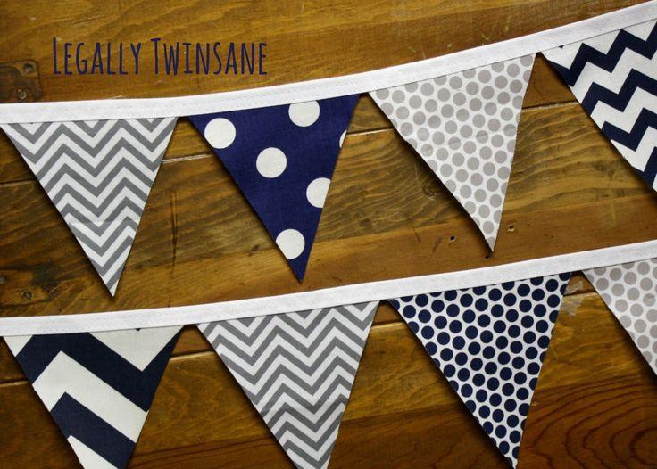 Fabric Bunting banner grey  navy blue chevron dots shower  birthday nursery by LegallyTwinsane on Etsy https://www.etsy.com/listing/185292424/fabric-bunting-banner-grey-navy-blue