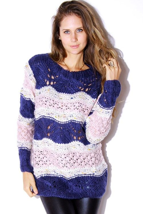 #1015store.com #fashion #style Multi/blue thick open knit sweater top-$15.00