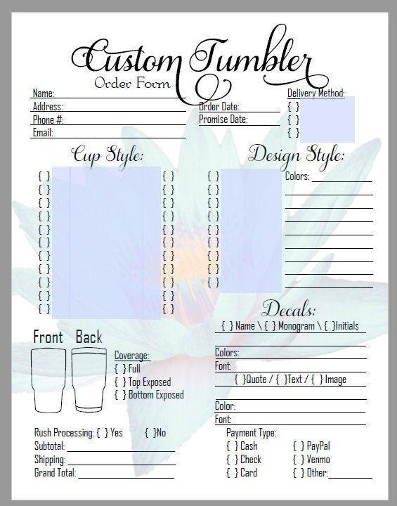 order form for tumblers  DIY Editable Custom Tumbler Order Form in PDF! Great for ...