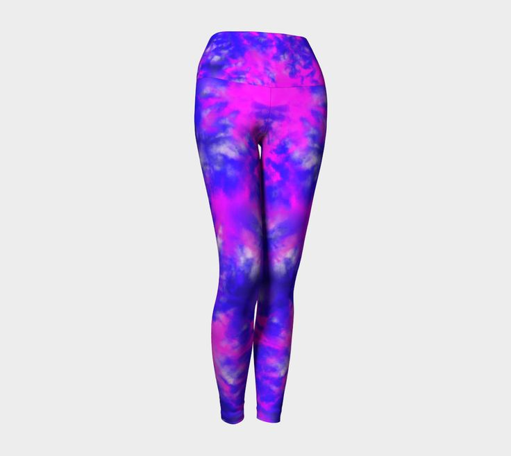 Womens leggings, yoga leggings, activewear, gym clothing, workout leggings, bright, purple, blue, pink by Traceyleeartdesigns on Etsy