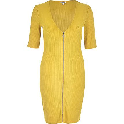 Dark yellow zip through bodycon dress €14.00