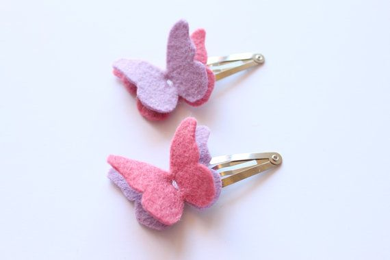Butterfly Felt Hair Clip Set  Hair Accesories  Wool by iheartbow, $7.00
