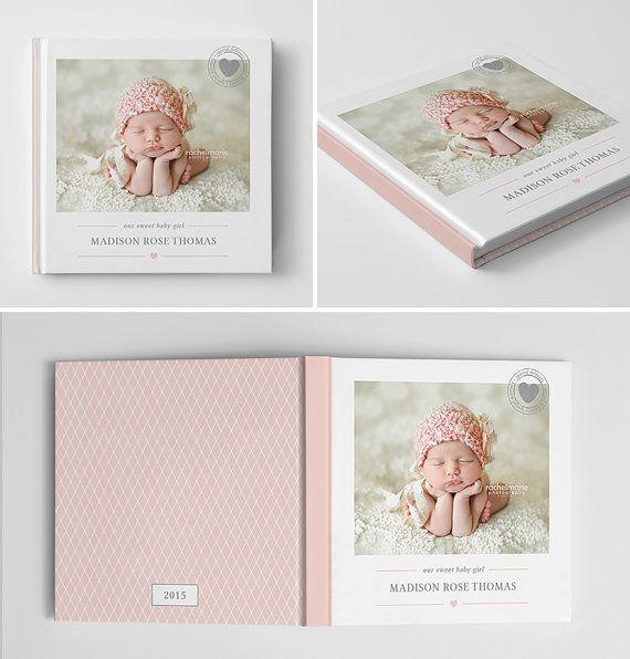 Baby Photo Book Cover Template for van hazyskiesdesigns op Etsy