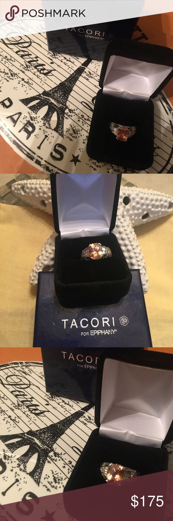 Tacori!!!  Epiphany!!! Gorgeous 925 silver and Platnum clad. Size 7 has Diamonique   Center stone is a large brownish/ orange/gold, side stones are white diamonique.   Simply gorgeous.  Statement ring for sure. Tacori Jewelry Rings