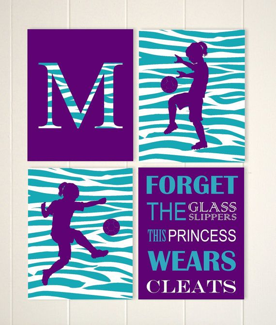 Girls wall art, soccer art, soccer girl wall art, zebra pattern girls room, soccer player, girls quote art, choose your sports and colors art by PicabooArtStudio