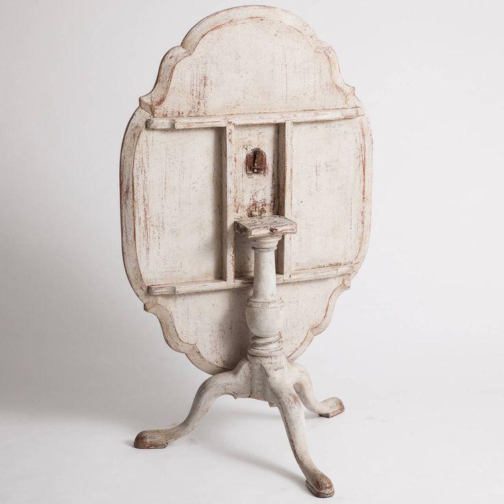 Swedish Rococo Period White Painted Flip Top Table, Circa 1760