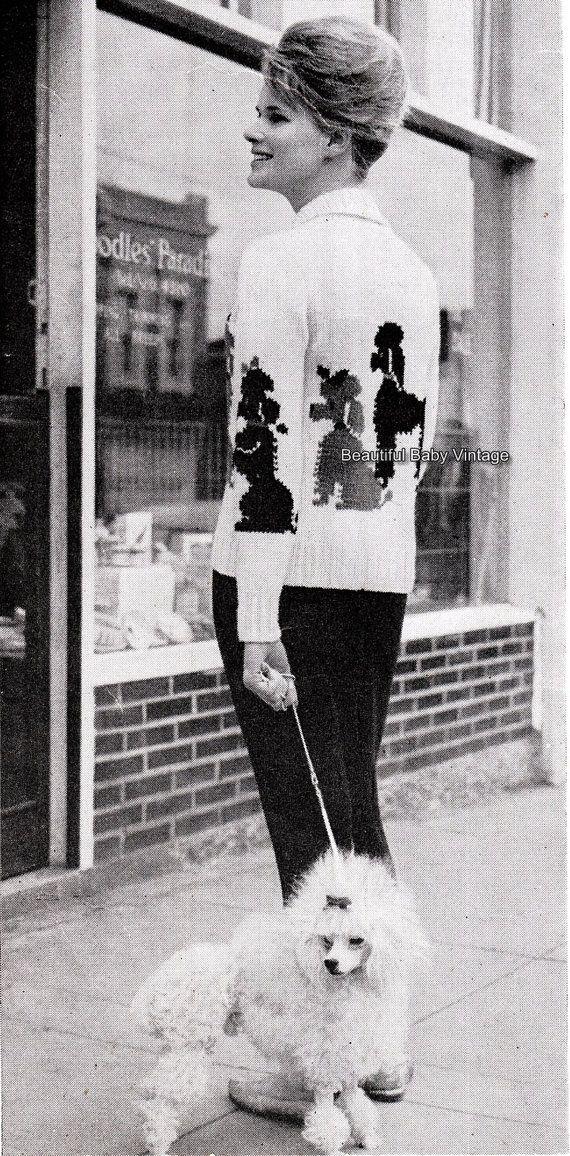Vintage Retro 1950s Knitting Pattern Rockabilly Rock n Roll Paris French Poodles Ladies Cardigan Sweater Bust 32-39 PDF