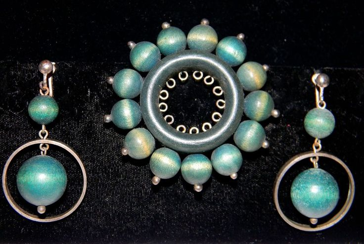 Aarikka 1960's Modernist Green Wood and Sterling pin and earrings, Finland!
