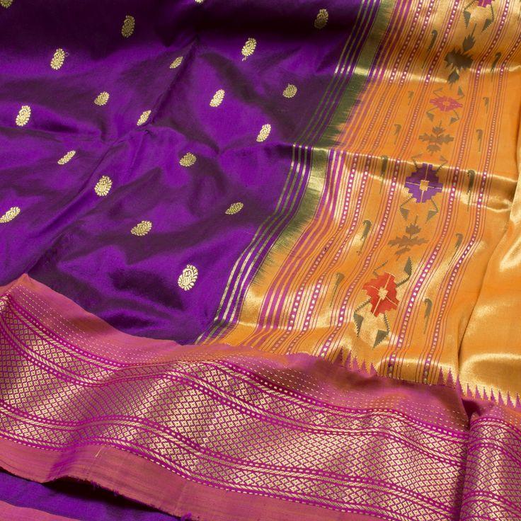 Ghanshyam Sarode Handwoven Paithani Silk Sari 1002412 - Brands / Ghanshyam Sarode - Parisera