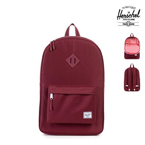 """The Herschel Supply Heritage Backpack is a true classic silhouette that pairs vintage style with modern construction. Features - Fully Lined With Our Signature Coated Poly Fabric - 15"""" Laptop Sleeve P"""