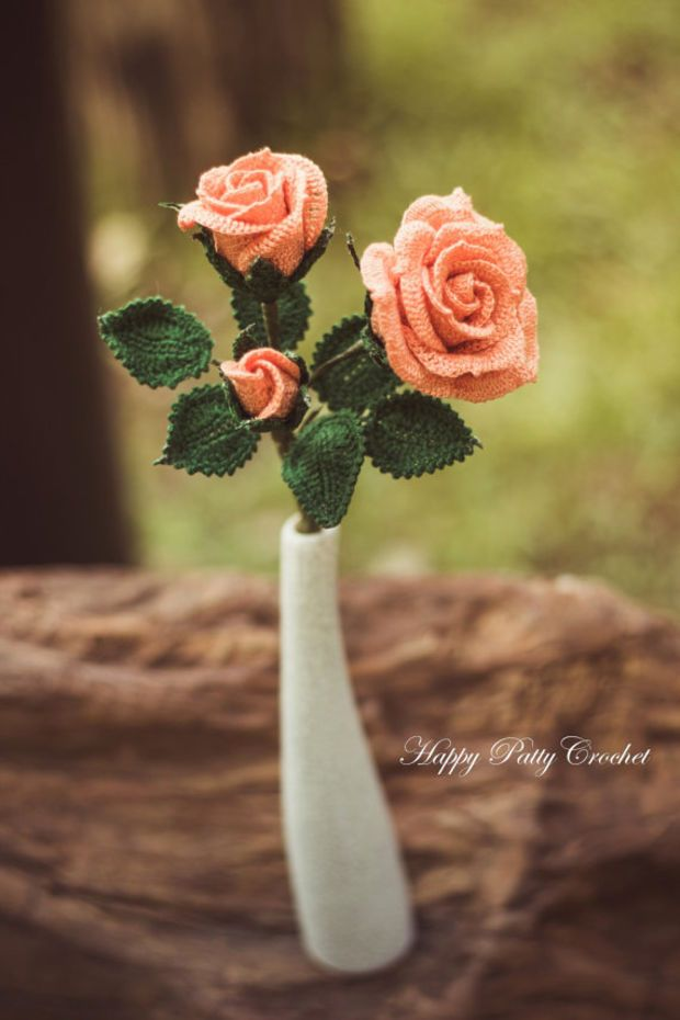 Crochet Spray Rose Pattern - Crochet Rose Pattern for Home Decor and Wedding Bouquet - Crochet Flower Patter - Applique for Rose Corsage